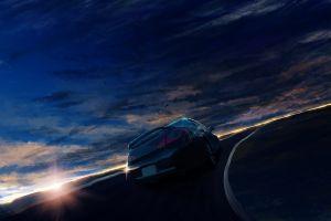 anime car dark daybreak sky road vehicle daybreak frontline sunlight