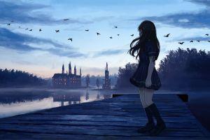 anime castle dark anime girls sky