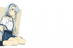 anime checkered manga simple background anime girls white background