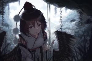 anime fantasy girl wings brunette anime girls
