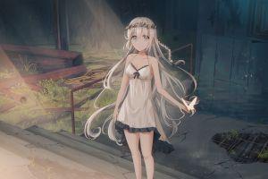 anime girls anime blonde nightgown long hair