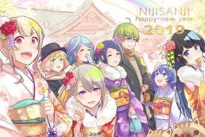 anime girls anime boys anime 2019 (year) open mouth purple eyes flower in hair
