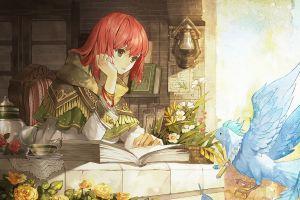 anime girls anime green eyes snow white with red hair fantasy girl redhead
