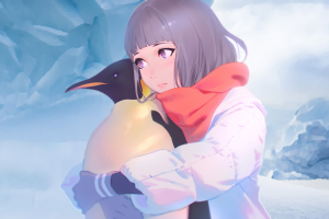 anime girls artwork winter antarctica blonde digital art original characters concept art