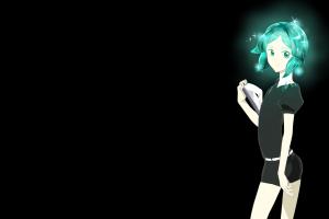 anime girls black background anime phos (houseki no kuni) aqua hair houseki no kuni