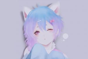 anime girls blue hair nekomimi anime simple background purple hair minimalism purple eyes manga