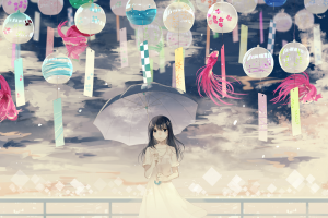anime girls dark hair anime umbrella