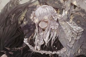 anime girls flower in hair fantasy girl white hair long hair anime