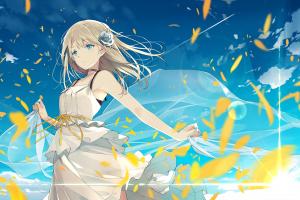 anime girls flower in hair sky ashima blue eyes anime