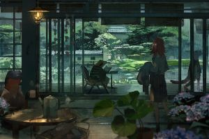 anime girls frog rain fantasy art