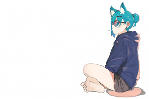 anime girls glasses manga feet barefoot anime girls eating turquoise white nekomimi simple background anime minimalism turquoise hair