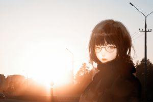 anime girls irl glasses portrait anime city