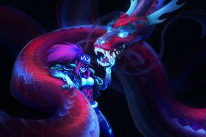 anime girls k/da video games pc gaming dragon league of legends anime colorful akali(league of legends)