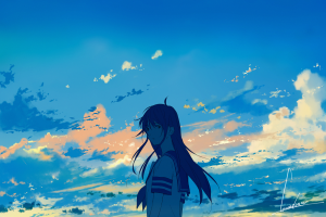 anime girls long hair looking at viewer anime clouds sky