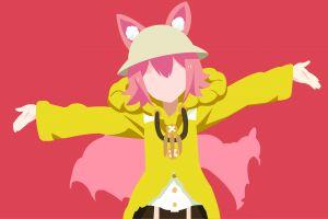anime girls minimalism pink anime