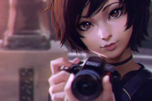 anime girls photography camera