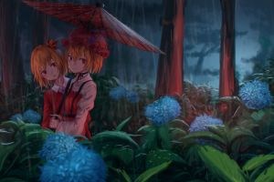 anime girls red eyes shizuha aki nature touhou blue flowers plants umbrella flowers minoriko aki