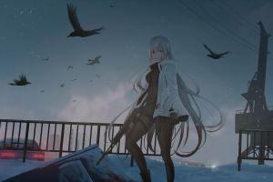anime girls rifles long hair birds weapon anime
