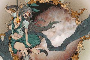 anime girls skirt reiuji utsuho touhou wings video games