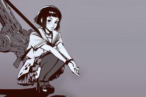 anime girls skirt sitting anime