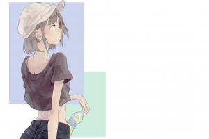 anime girls soda manga simple background summer minimalism anime