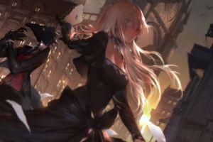 anime grasoso city anime girls blonde anime long hair