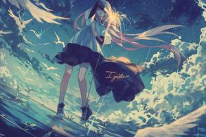 anime legs sky clouds anime girls