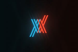anime logo cyan glowing illustration simple background darling in the franxx orange simple