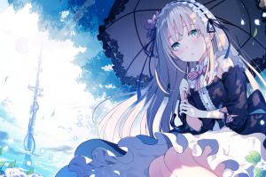 anime long hair anime girls umbrella