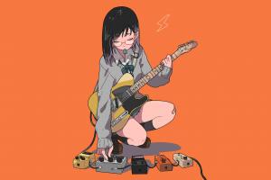 anime manga glasses meganekko short hair minimalism musician guitar anime girls sitting schoolgirl orange simple background