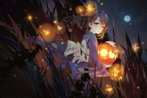 anime moon brunette lights anime girls 2018 (year) night