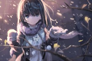 anime outdoors snow twigs anime girls