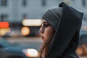 anton harisov portrait women outdoors profile urban women with glasses 500px