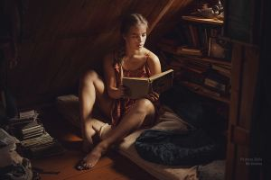 anton zhilin reading barefoot bare shoulders kristina dress books feet