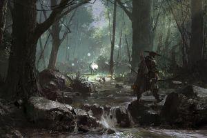 arc forest fantasy art landscape hunter su jian warrior digital art deer river