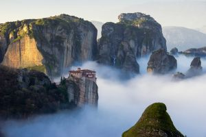 architecture mountains meteora trees forest nature greece