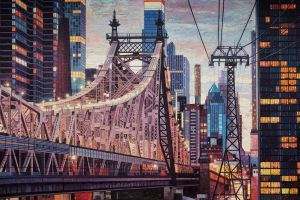 architecture utility pole lights cityscape modern artwork skyscraper painting bridge building city