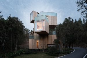 architecture wood house modern trees forest house