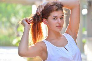 armpits women holding hair brunette women outdoors leah gotti depth of field