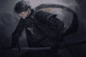 artwork anime men warrior japan digital art sword soldier weapon katana