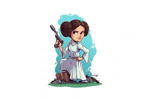 artwork blaster princess leia white background derek laufman star wars simple background