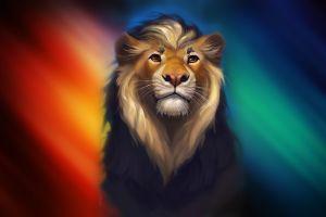 artwork colorful digital art lion animals