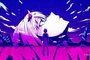 artwork digital art darling in the franxx pink anime girls anime zero two (darling in the franxx) blue anime boys code:002