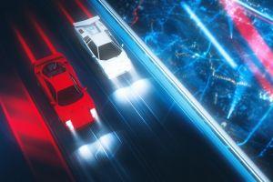 artwork digital art lamborghini countach lamborghini vehicle car white cars neon red cars ferrari