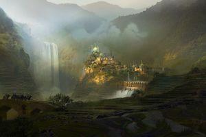 artwork drawing castle fantasy art