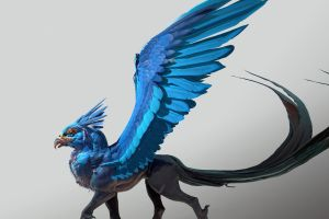 artwork fantasy art traditional 3d blue wings digital hippogriff