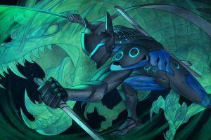 artwork genji (overwatch) overwatch digital art video games d.va (overwatch) katana