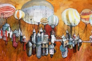 artwork hot air balloons fantasy art city
