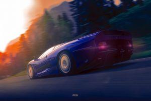 artwork jaguar (car) car road
