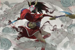 artwork kimono mask women digital art akali(league of legends) zeen chin league of legends video game girls sketches illustration warrior